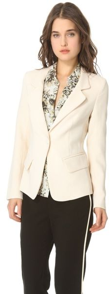 L'agence Notch Collar Blazer in Beige (ivory)