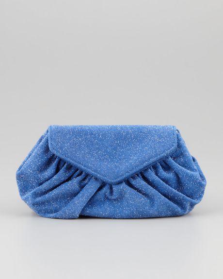 merkin diana glitter clutch bag royal blue in blue
