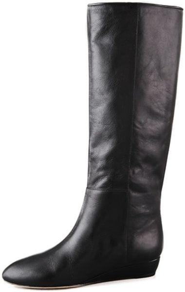 loeffler randall matilde low wedge boots in black lyst