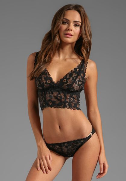 Lonely Hearts Full Lace Cup Longline Bra in Black in Black