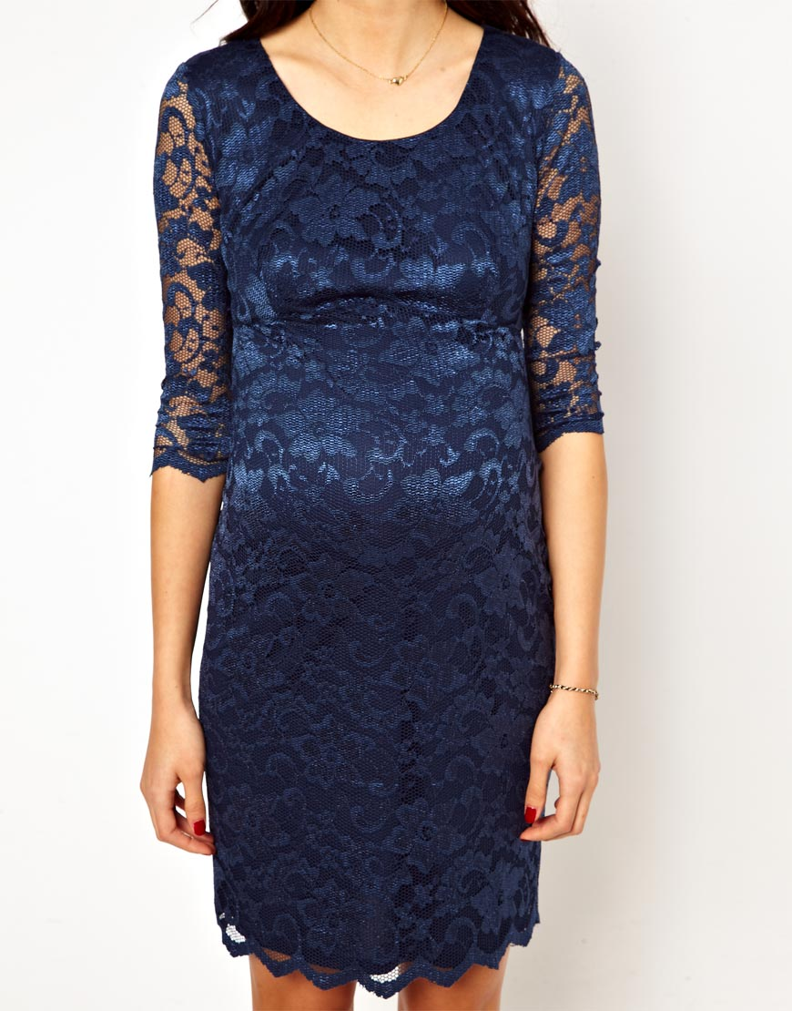 d4d7fa8ab01 Asos New Look Maternity Lace Bodyconscious Dress In Blue Lyst