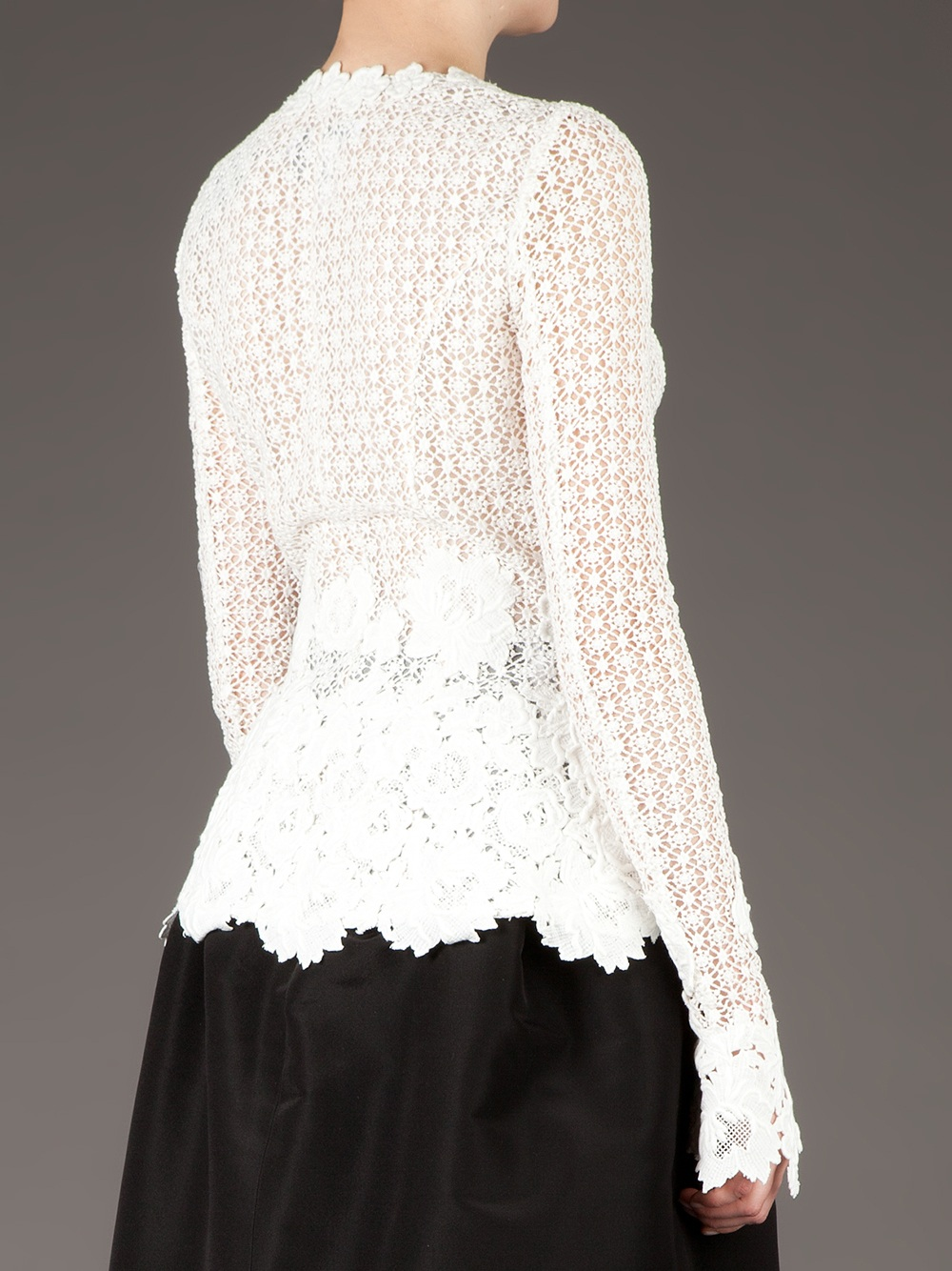 Oscar de la renta Floral Lace Cardigan in White | Lyst