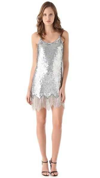 lyst parker fringe beaded dress in metallic