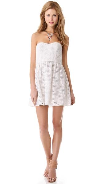 Parker London Strapless Dress in White - Lyst