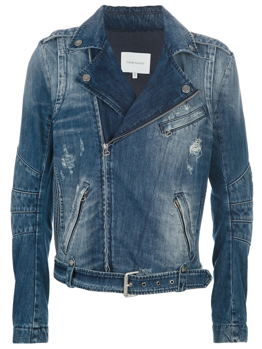A collarless biker-style jacket in a distressed denim. The jacket features a full length zip fastening, four front pockets and popper cuffs. The Biker jacket is finished with a Superdry logo tab on the top pocket.