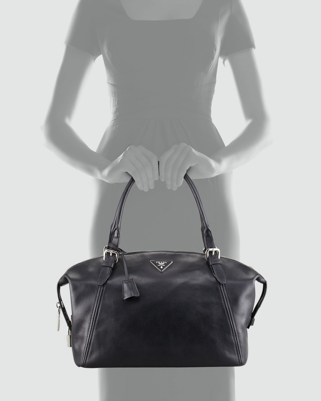 Prada Soft Calfskin Duffle Bag in Black | Lyst