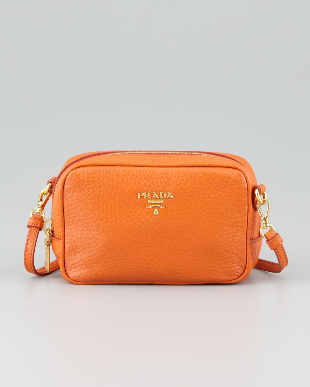 Prada Mini Ziptop Crossbody Bag In Orange Lyst
