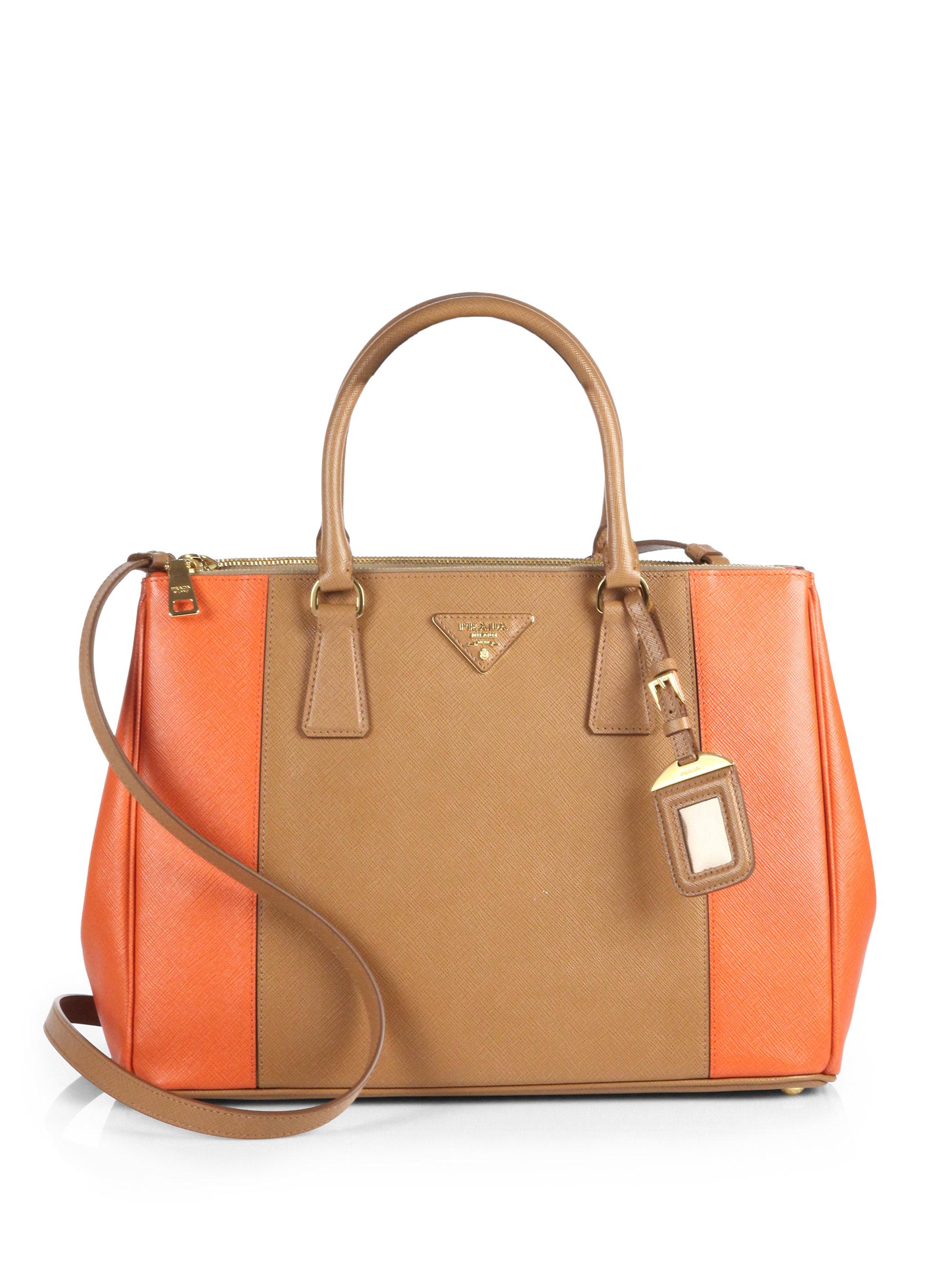 prada handbags small black - Prada Saffiano Bicolor Double Zip Tote in Brown (PAPAYA CARAMEL ...