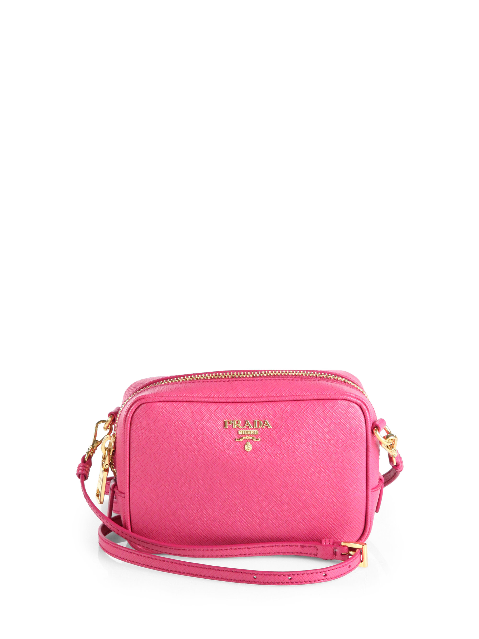 prada silver handbag - Prada Saffiano Leather Camera Bag in Pink (PEONIA-PINK) | Lyst
