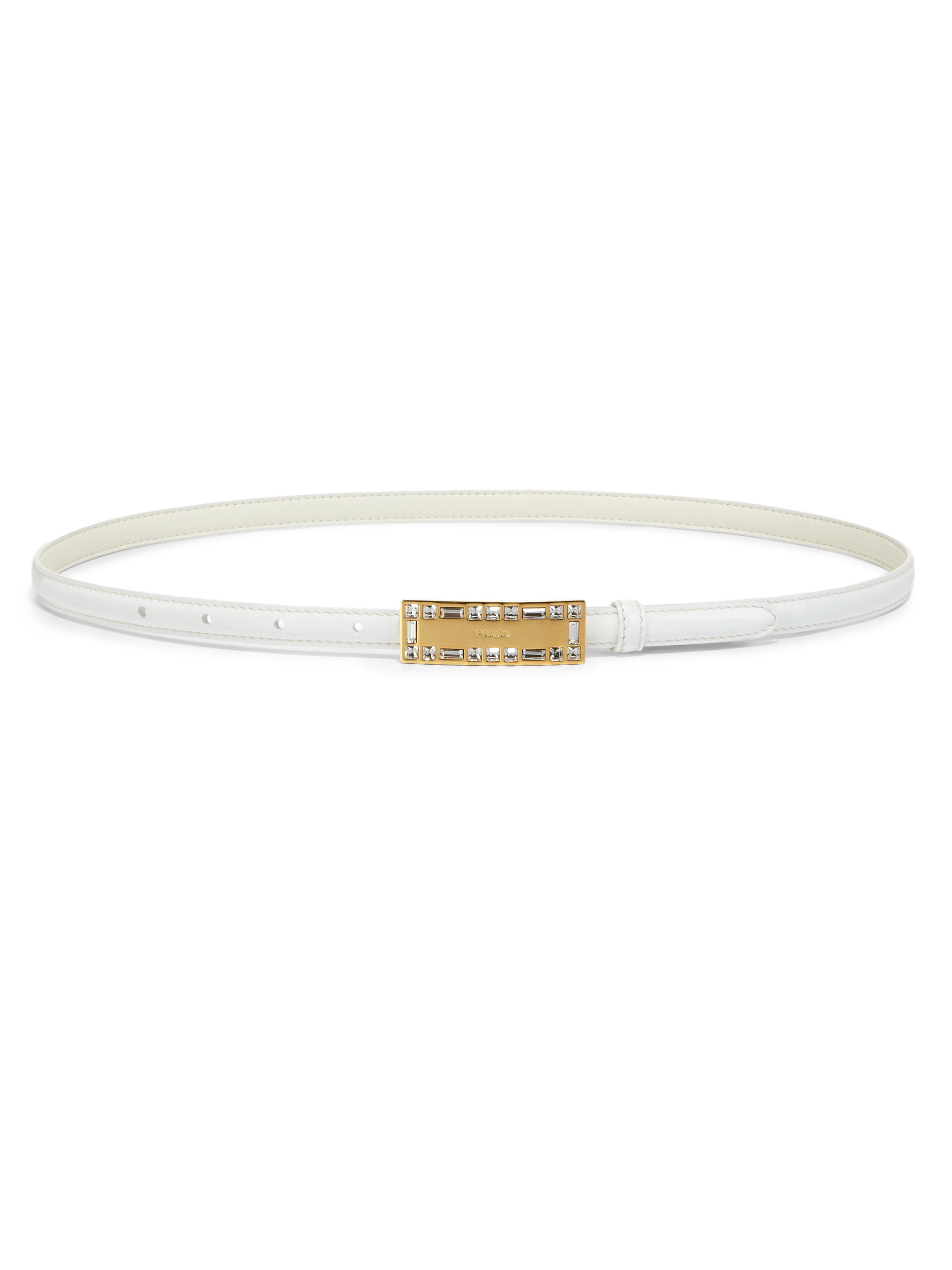 prada patent leather belt in white lyst