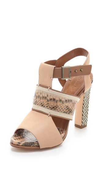 Lyst Rachel Roy Faye Mixed Media Sandals In Natural
