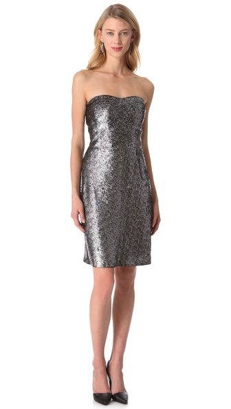 Rebecca taylor Sequin Strapless Dress in Metallic - Lyst