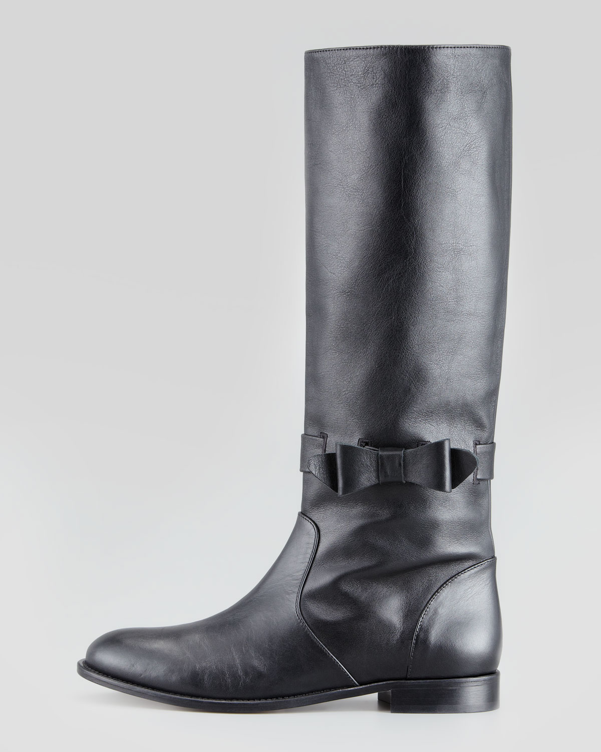 Red valentino Pullon Bow Riding Boot in Black | Lyst