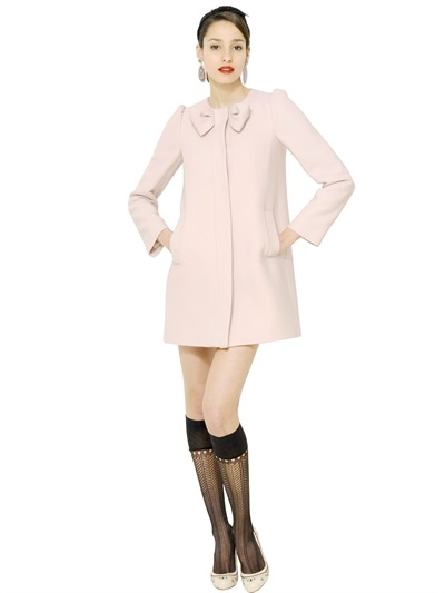 Red valentino Bow Wool Blend Thick Crepe Coat in Pink | Lyst