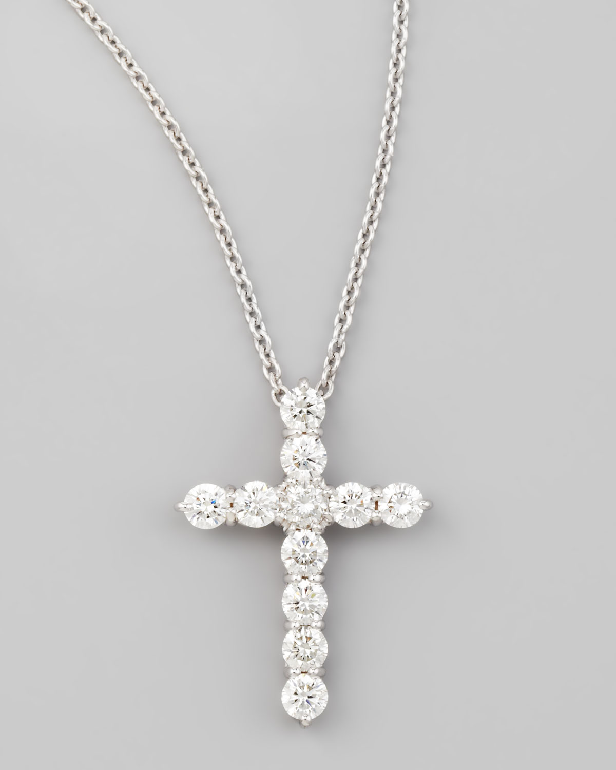 Lyst roberto coin 18 white gold diamond cross pendant necklace in gallery aloadofball Gallery