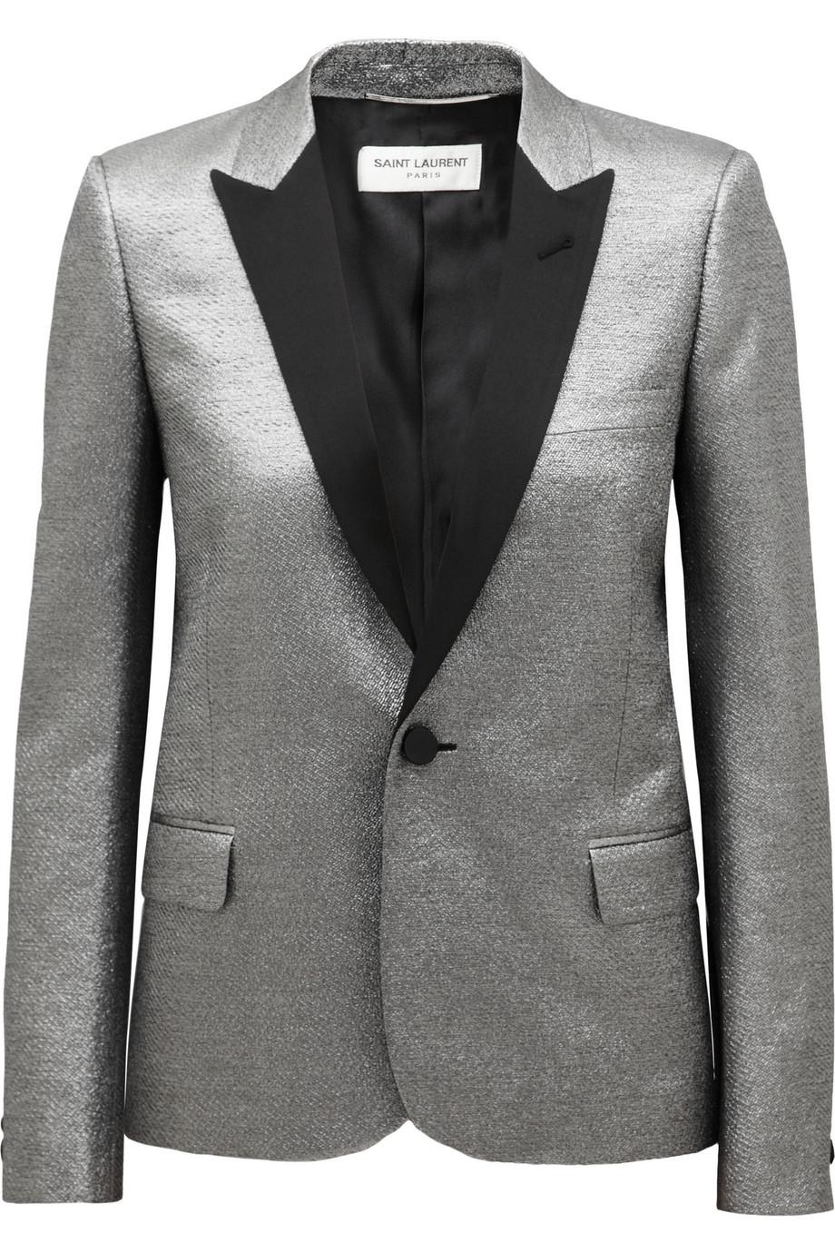 Lyst Saint Laurent Metallic Jacquard Tuxedo Jacket In