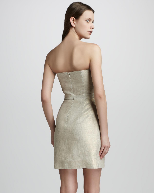 Shoshanna Strapless Linen Dress in Metallic | Lyst