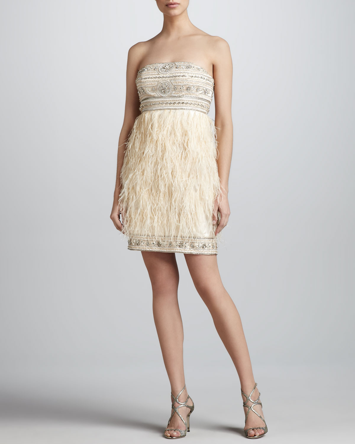 sue wong beaded feather strapless dress in metallic lyst