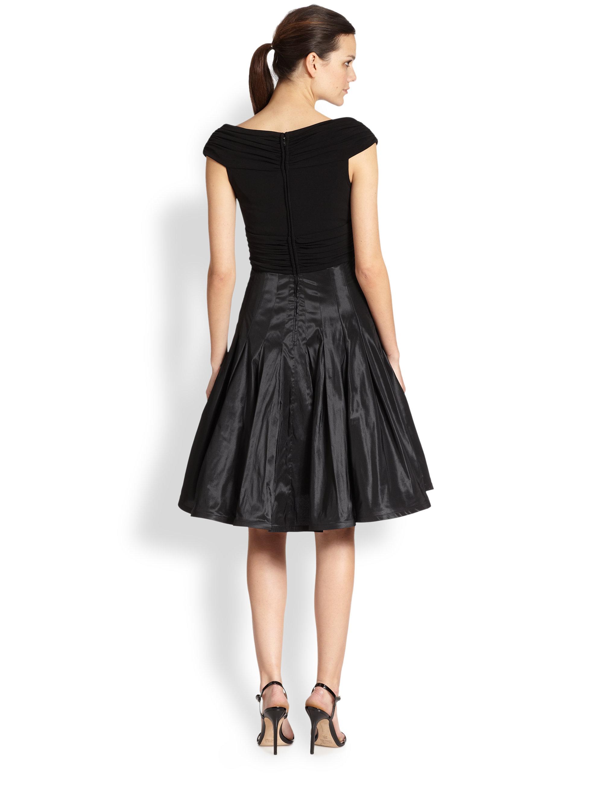 Tadashi Shoji Taffeta Skirt Dress In Black Lyst