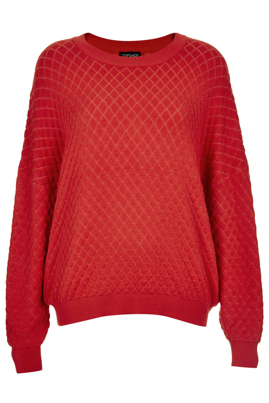 Topshop Knitted Quilted Sweater in Red | Lyst