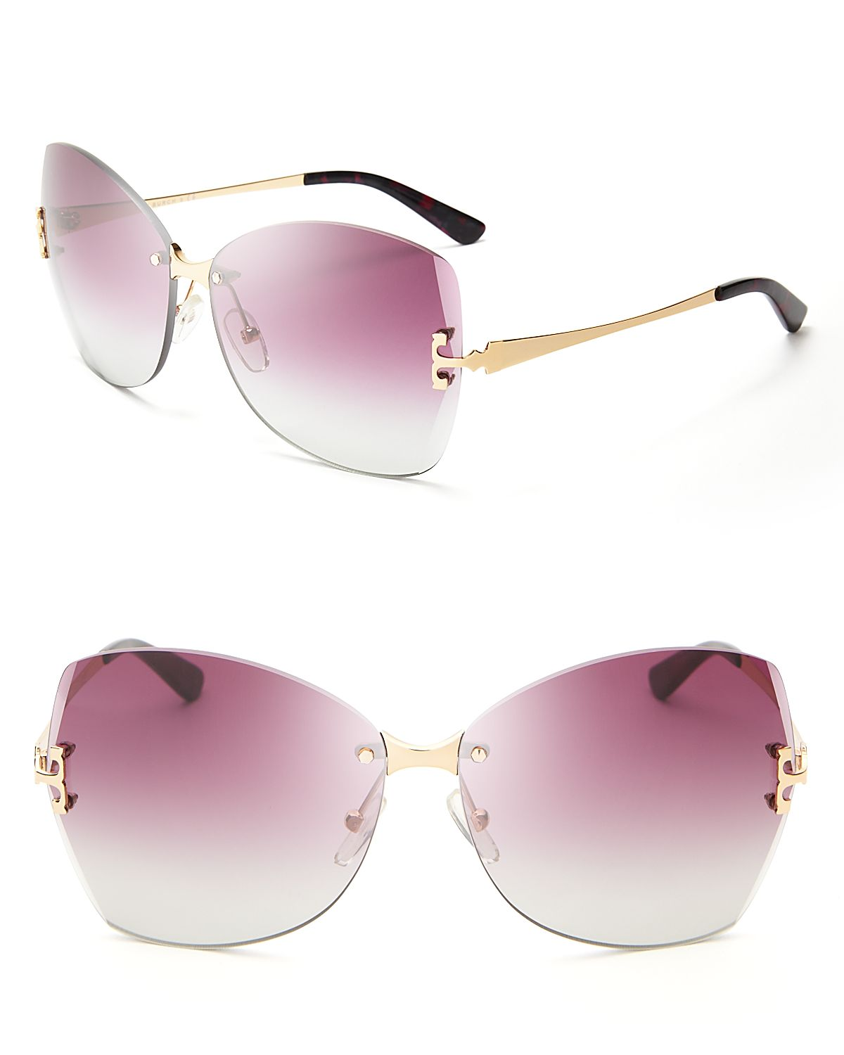 Modern Sunglasses  tory burch gold trim modern sunglasses in purple lyst
