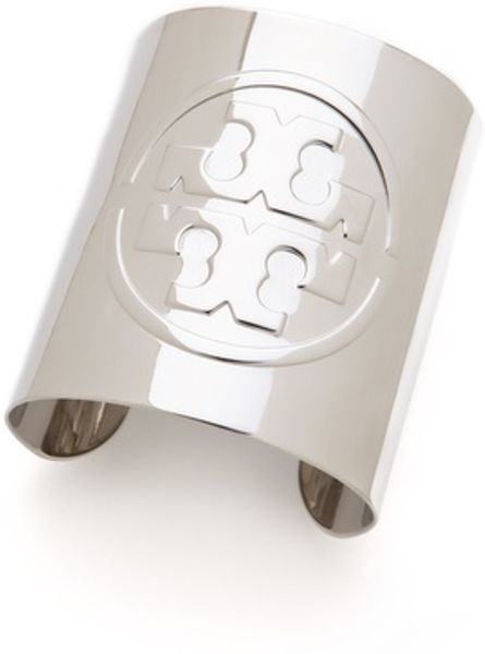 Tory Burch Metallic Logo Cuff In Silver Lyst