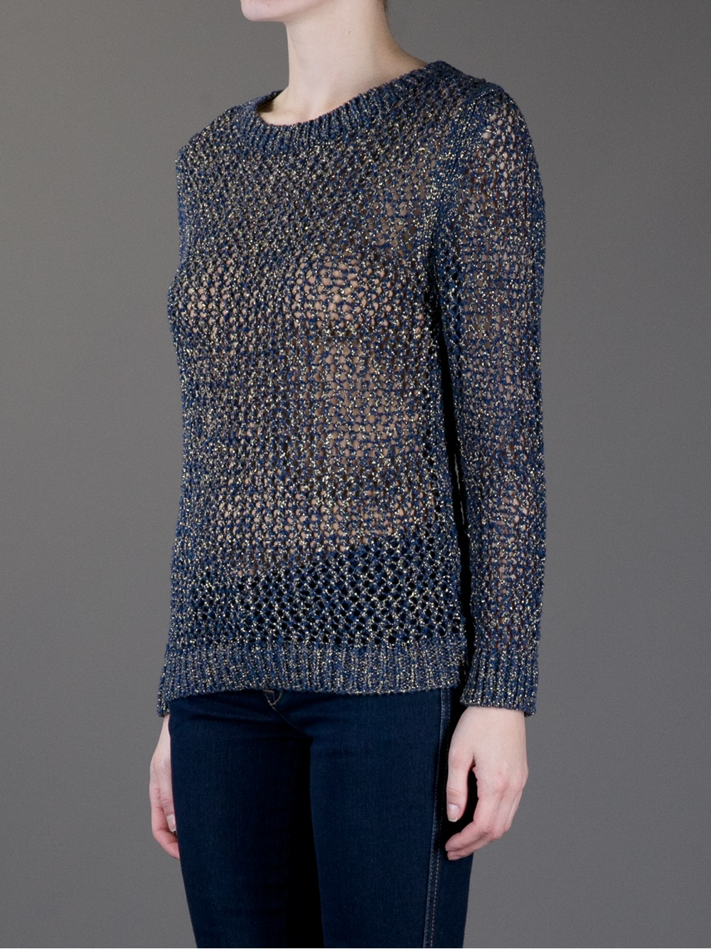 Vanessa bruno athé Loose Knit Sweater in Blue | Lyst
