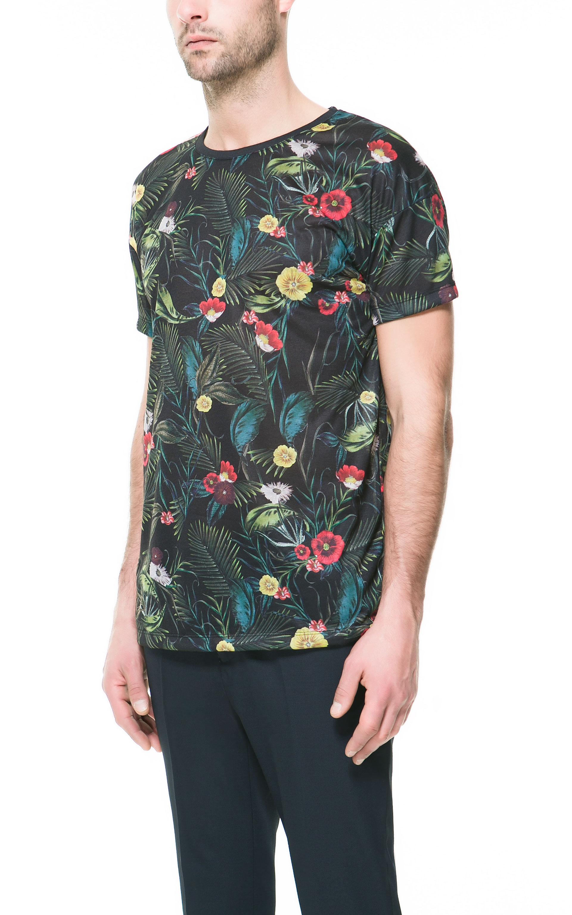 Zara floral print t shirt in floral for men black lyst for Zara mens floral shirt