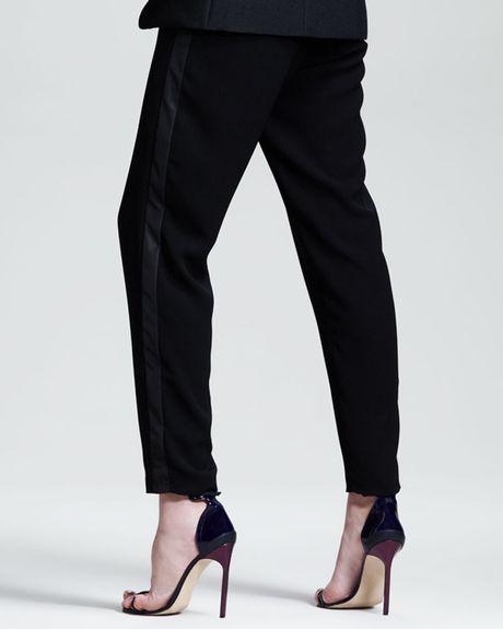 Innovative Women Tuxedo Pleated Pants Black