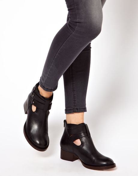 asos after all leather cut out ankle boots in black lyst