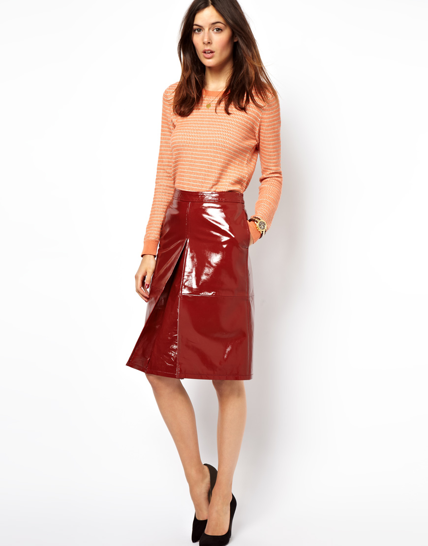 Asos A-Line Midi Skirt In Patent Leather in Red | Lyst