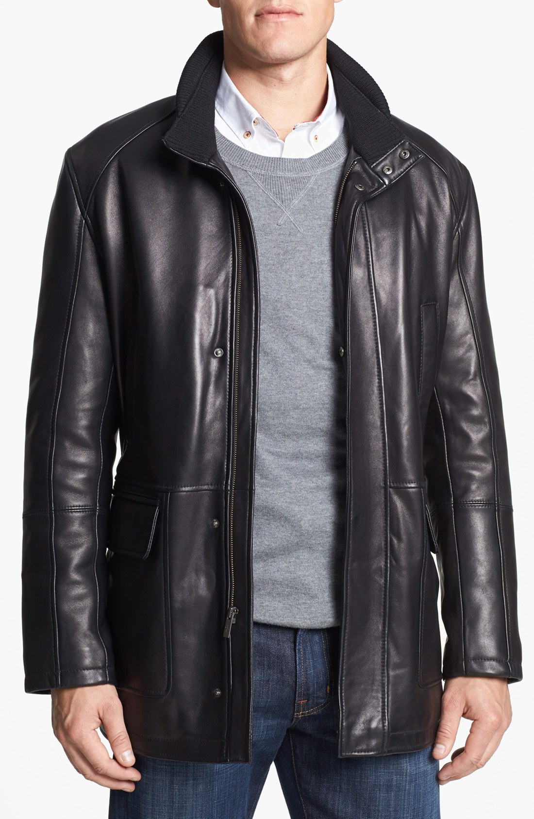 Cole haan Lambskin Leather Car Coat in Black for Men | Lyst