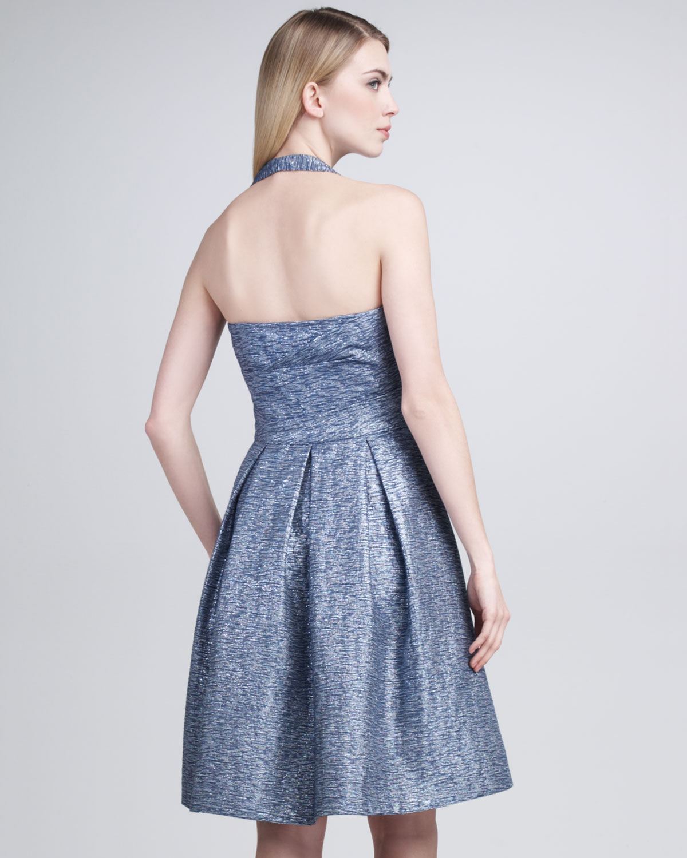 David meister Halter Top Cocktail Dress in Blue   Lyst