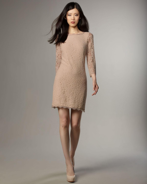 ca5ad94f62 Diane von Furstenberg Zarita Lace V-back Dress in Natural - Lyst