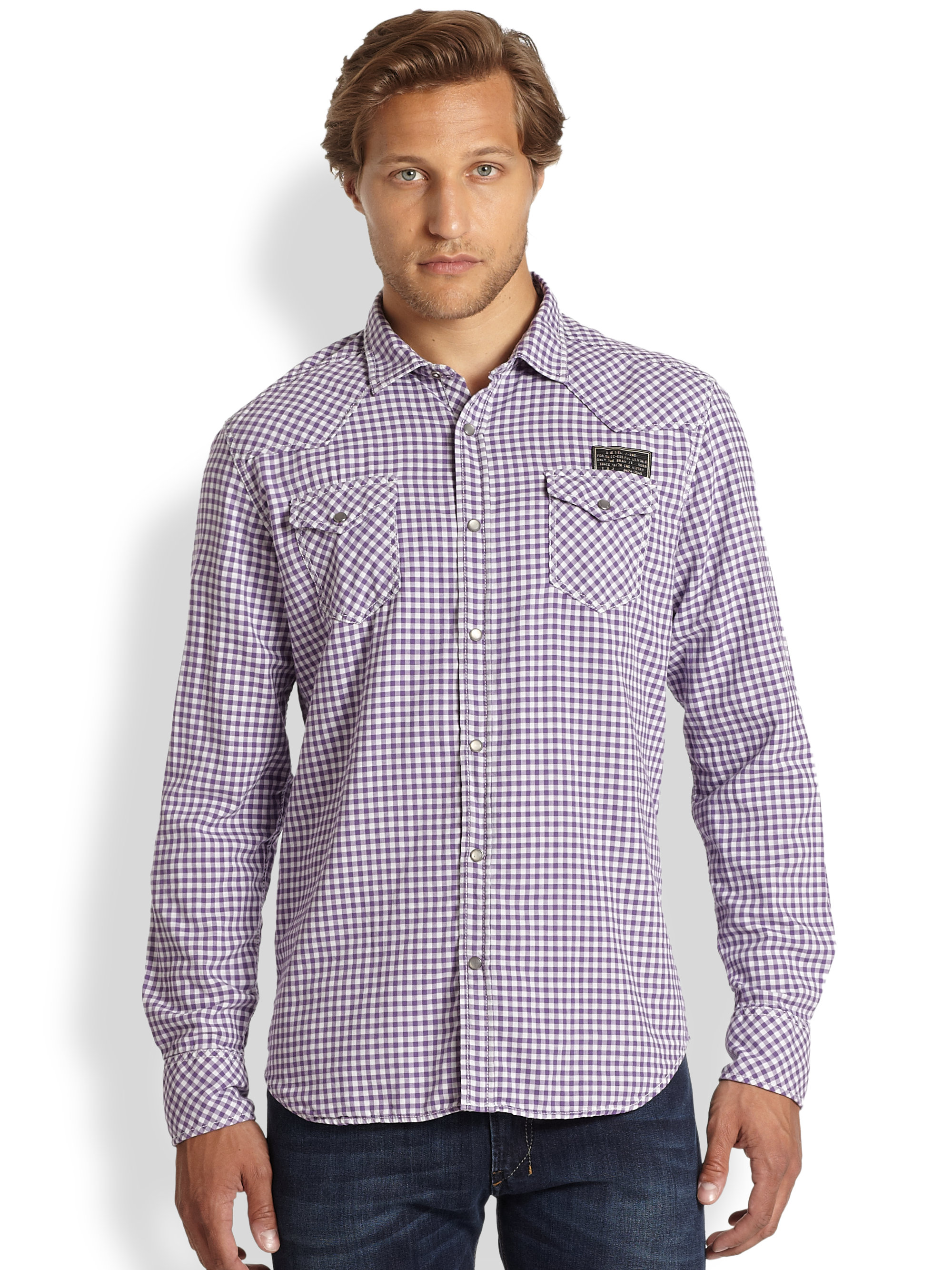 Lyst diesel sdanube gingham dress shirt in blue for men for Men s red gingham dress shirt