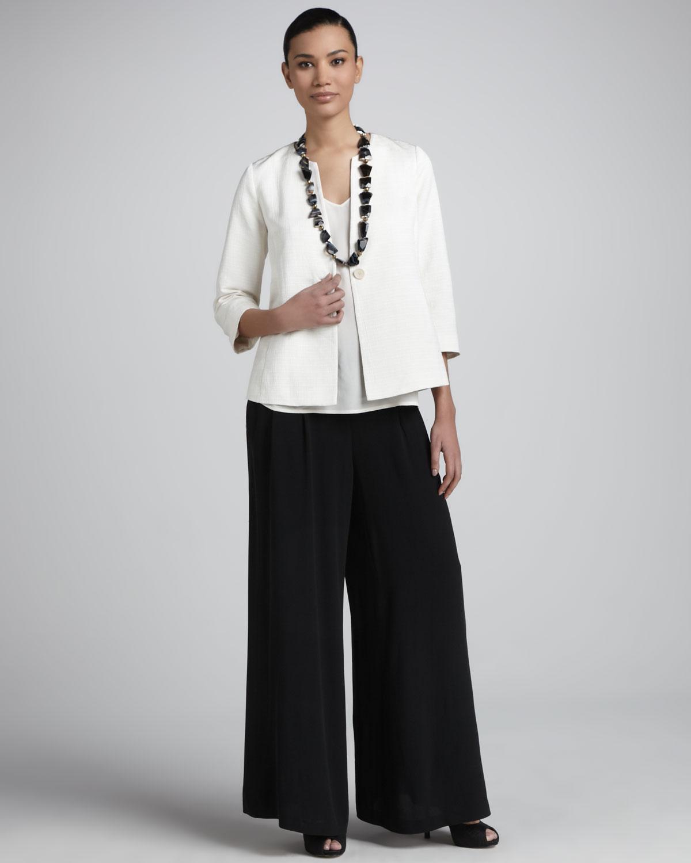 Eileen fisher Womens Silk Georgette Wide Leg Pants Petite in Black ...