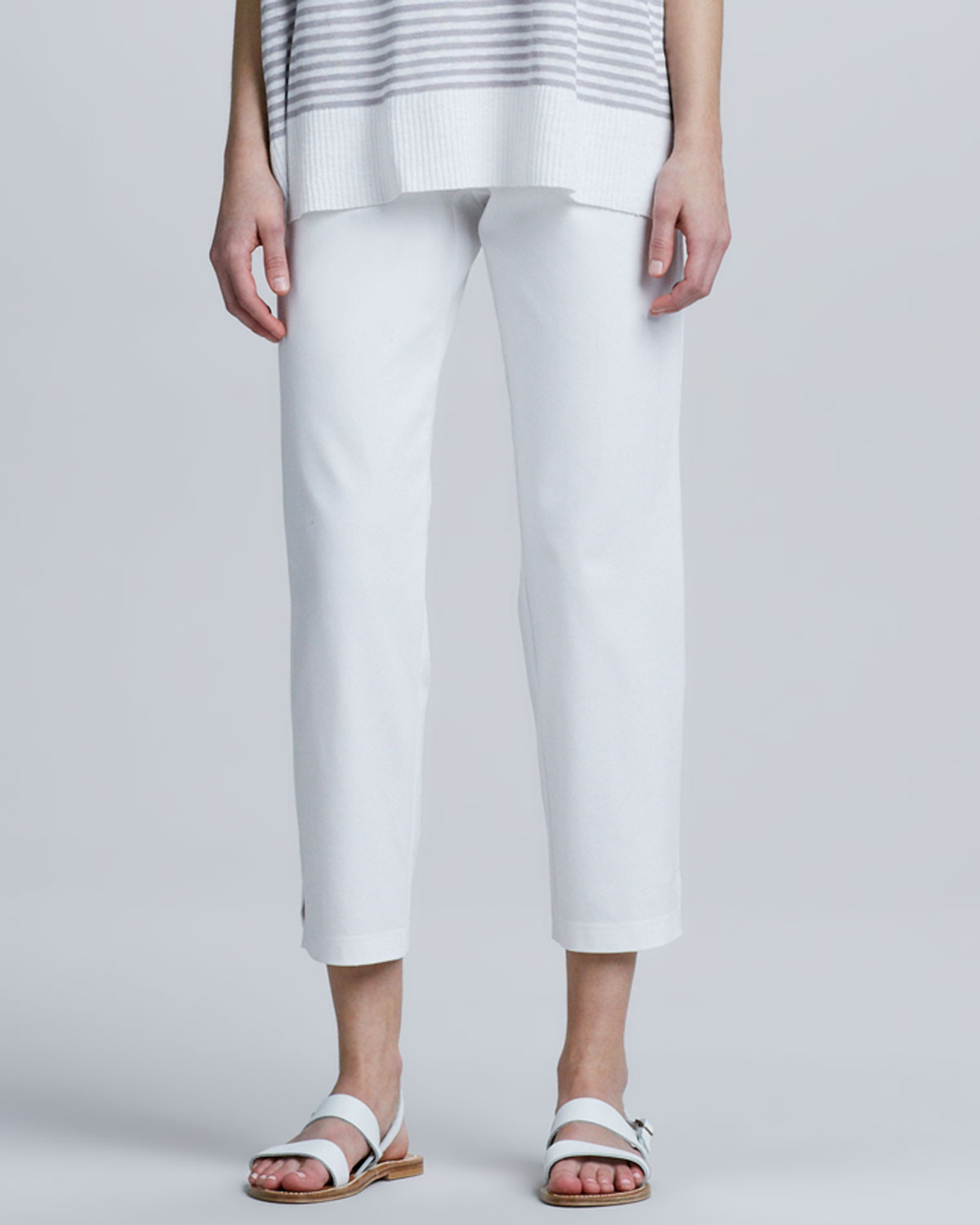 ca8c1d9ec1 Lyst - Eileen Fisher Organic Cotton Slim Ankle Pants in White
