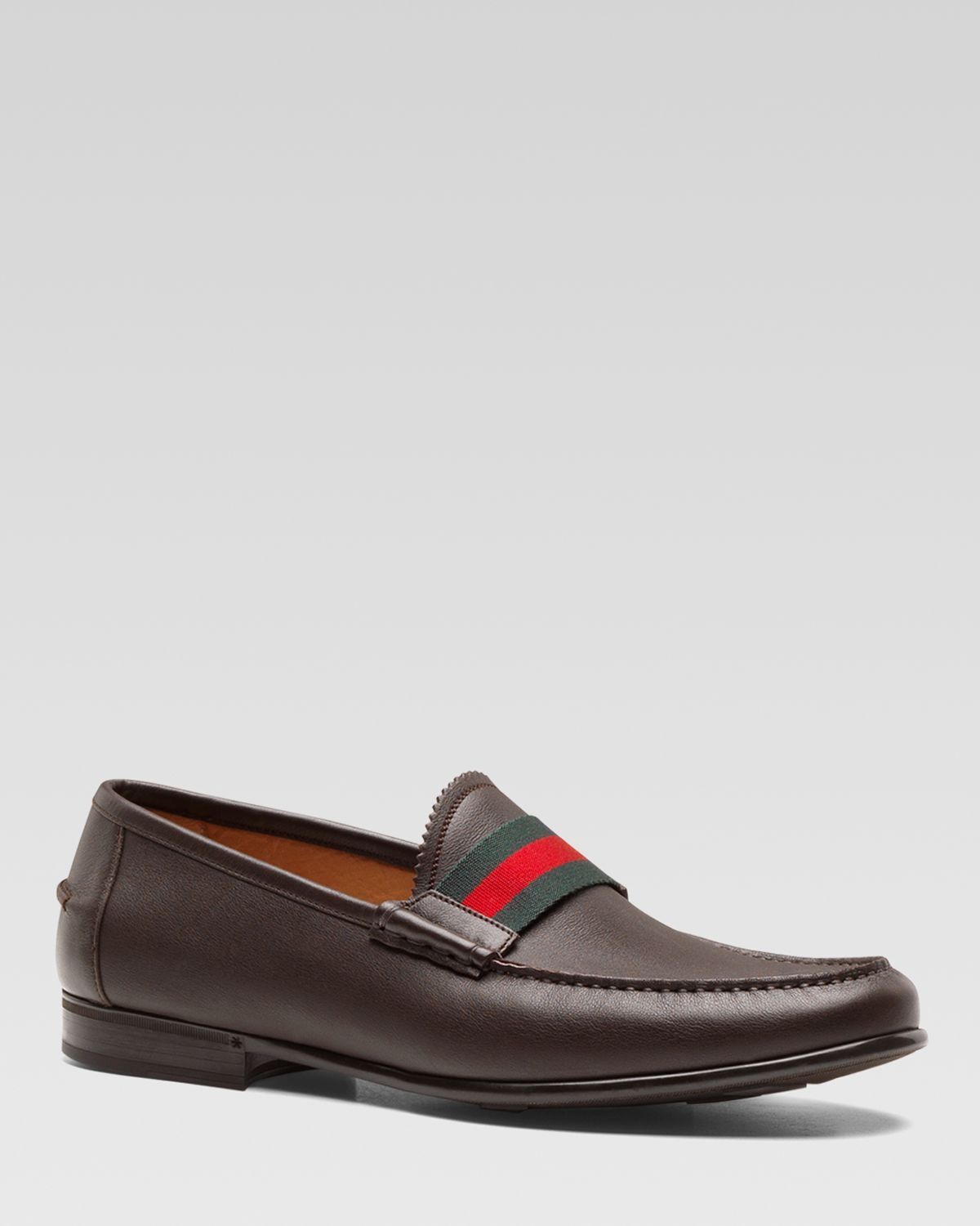 c72bd29ebc4 Lyst - Gucci Frederik Leather Loafers with Web in Brown for Men