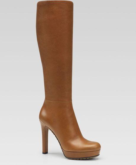 gucci anouk high heel platform boot in brown cuir lyst