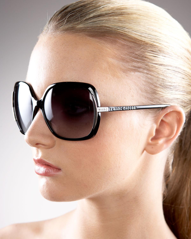 b38b4e6943 Marc By Marc Jacobs Thin Square Plastic Sunglasses in Black - Lyst