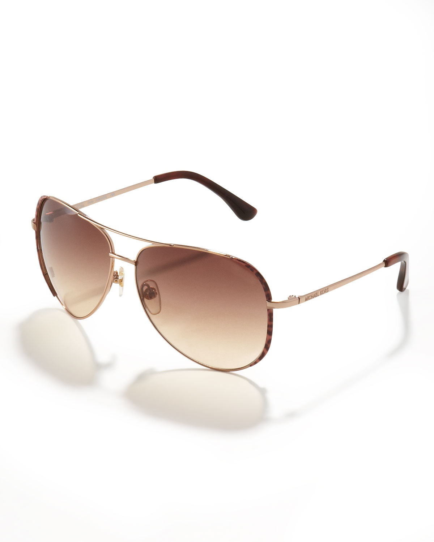 Michael Kors Sicily Sunglasses  michael michael kors sicily aviator sunglasses in brown lyst