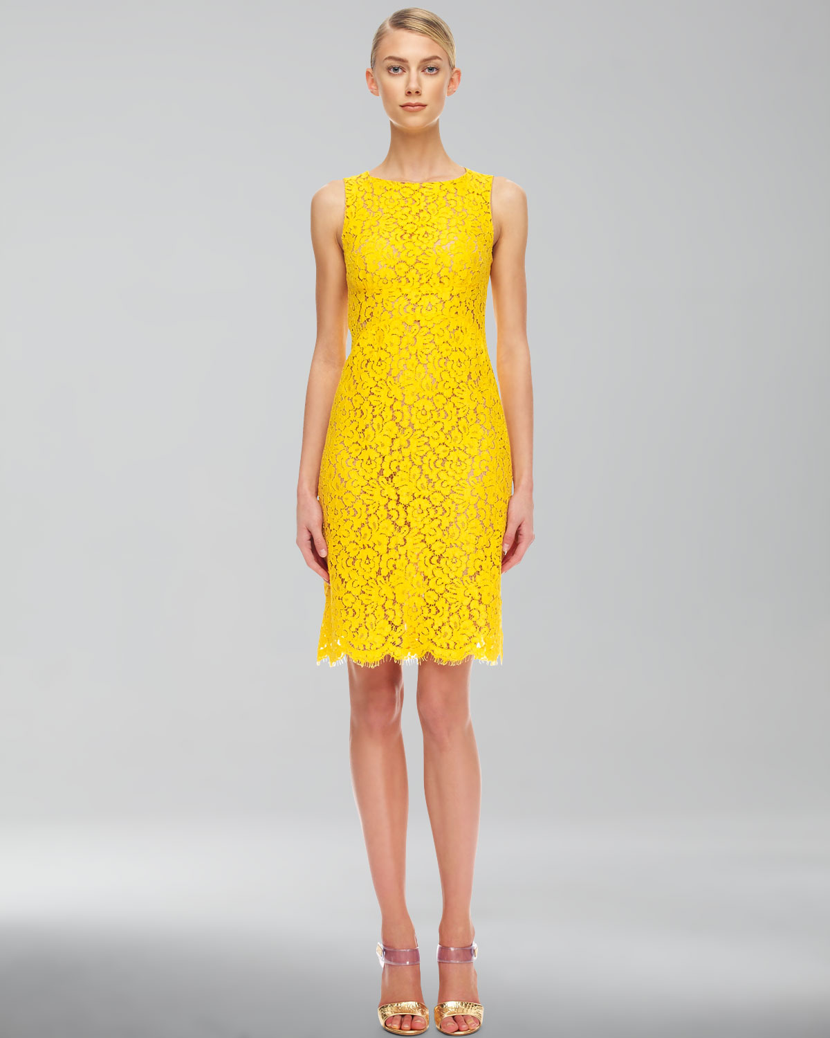 2074efadf6d7 Lyst - Michael Kors Floral Lace Empire Shift Dress in Yellow