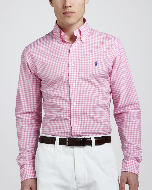 Lyst Polo Ralph Lauren Customfit Gingham Shirt Pinkwhite In Pink