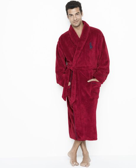 polo ralph lauren microfiber robe pioneer red in blue for men pioneer red lyst. Black Bedroom Furniture Sets. Home Design Ideas