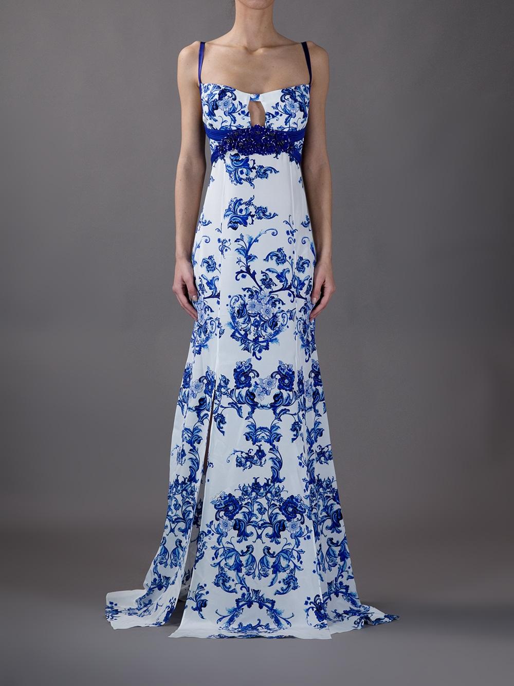 Lyst Roberto Cavalli Printed Maxi Dress In White