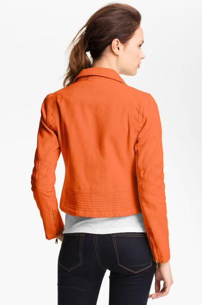 Steve Madden Colored Denim Moto Jacket In Orange Bright