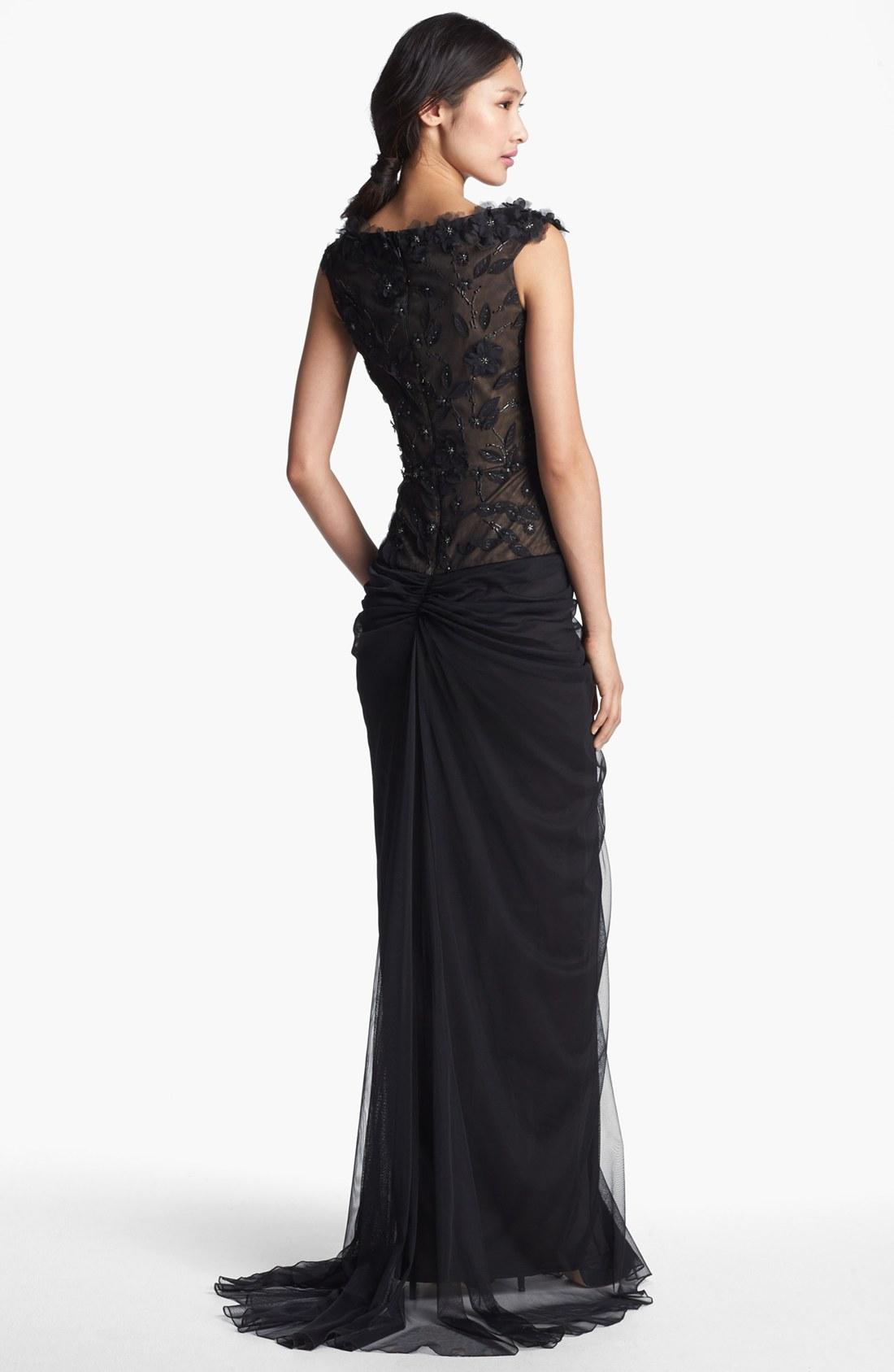 Tadashi Illusion Yoke Beaded Gown – fashion dresses