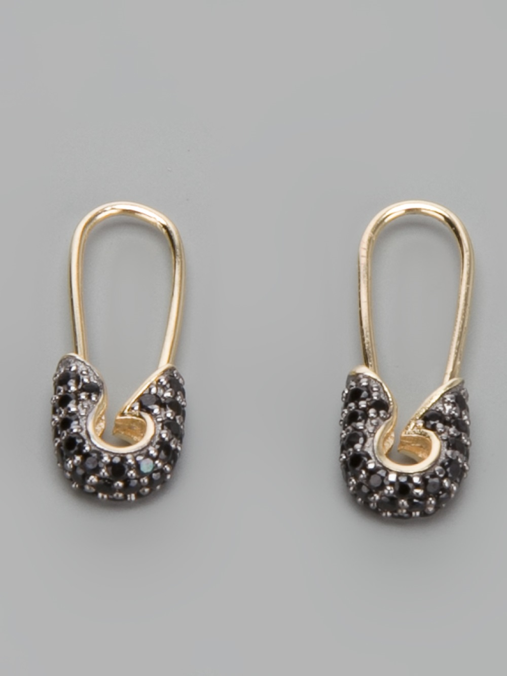 Lyst Tom Binns Safety Pin Earrings In Metallic