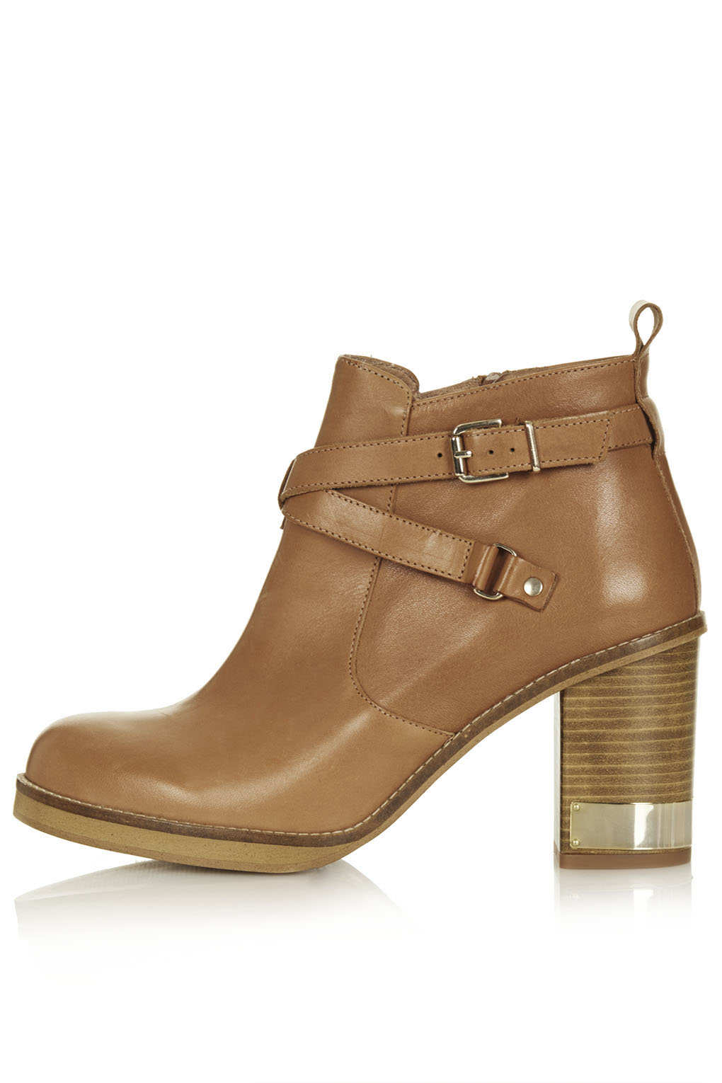topshop metal trim leather boots in brown camel lyst