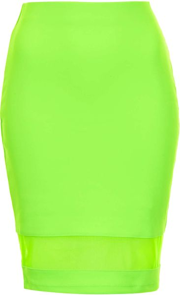 topshop fluro mesh panel pencil skirt in green lime lyst